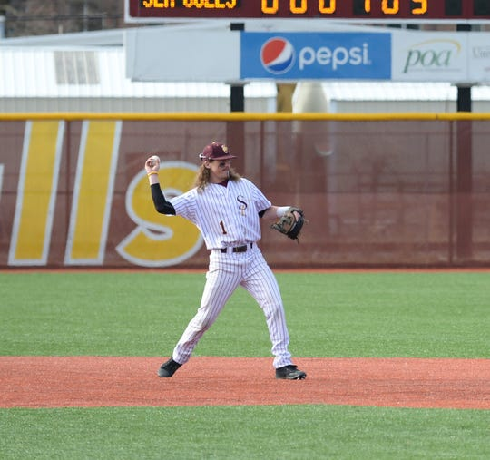 Salisbury University's Jimmy Adkins throws to second against Gwynedd Mercy on Sunday, Feb. 10, 2019.