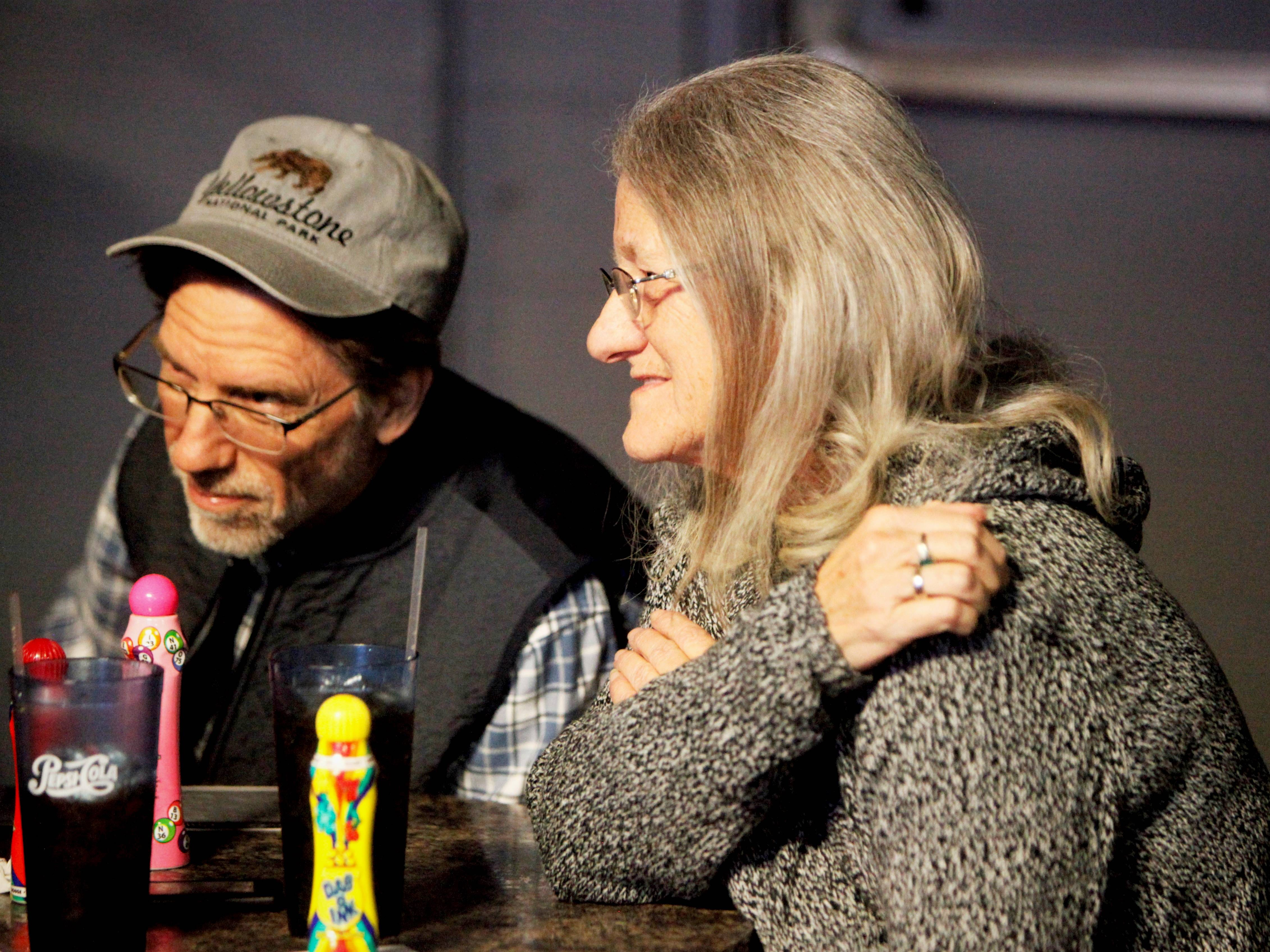 Mark Struckhoff, executive director of Council of Churches of the Ozarks, and Verla Fleetwood attend Drag Queen Charity Bingo at Fuzion in Springfield.