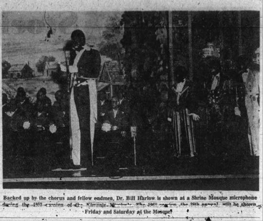 This photo ran in the News-Leader on Feb. 19, 1961. It is of Dr. Bill Harlow, a Springfield dentist, performing in blackface during the 1957 Kiwanis Minstrel Show. He died in 1977.