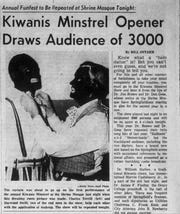For many years, thousands attended the annual Kiwanis Minstrel Show in Springfield, which included white men performing in blackface.  This story appeared in the Springfield News-Leader on Feb. 27, 1960.