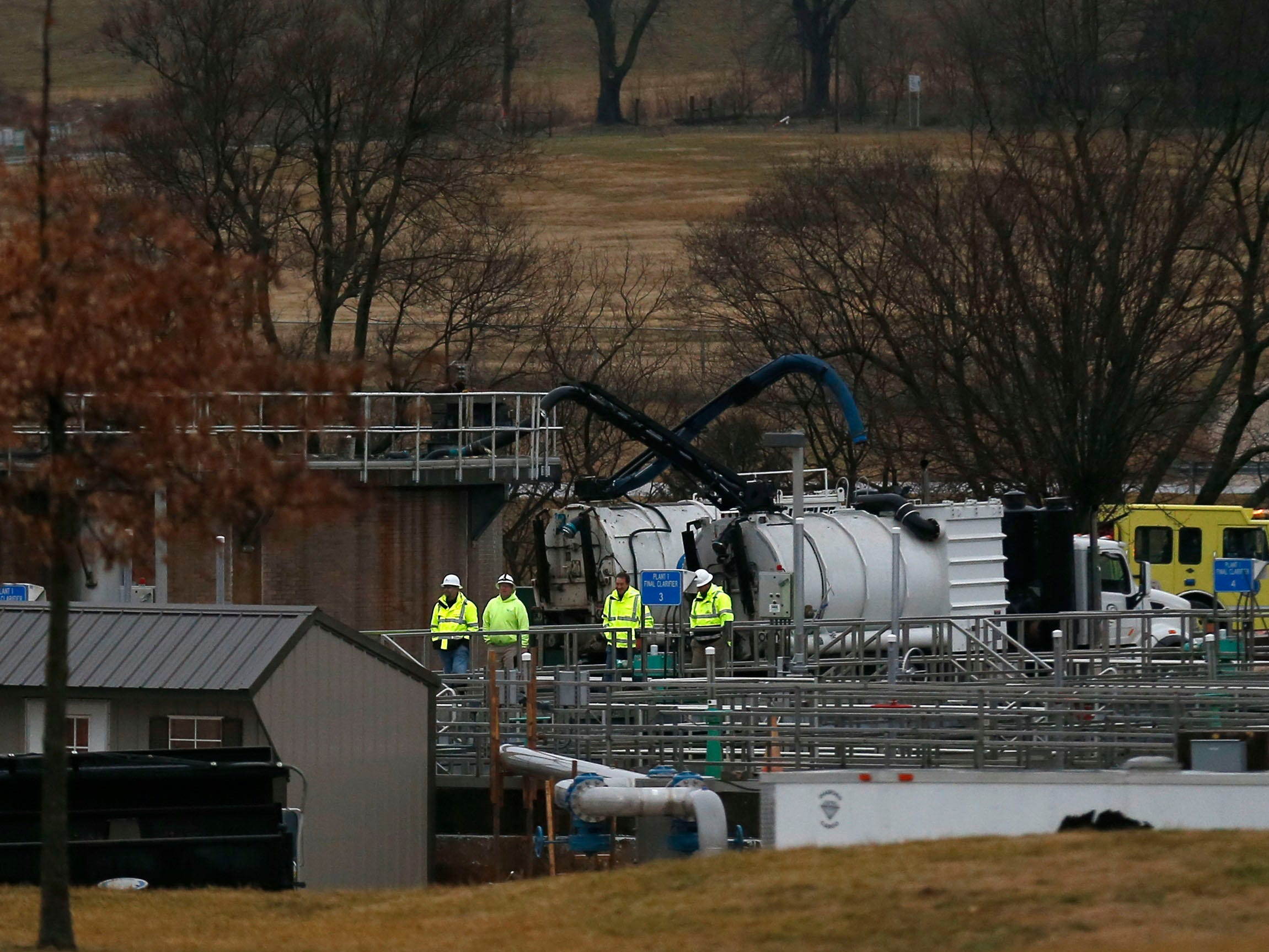 Springfield Fire Department officials say two people were injured Monday after jumping from a collapsing roof to escape a methane burst at the Springfield Wastewater Treatment Facility.