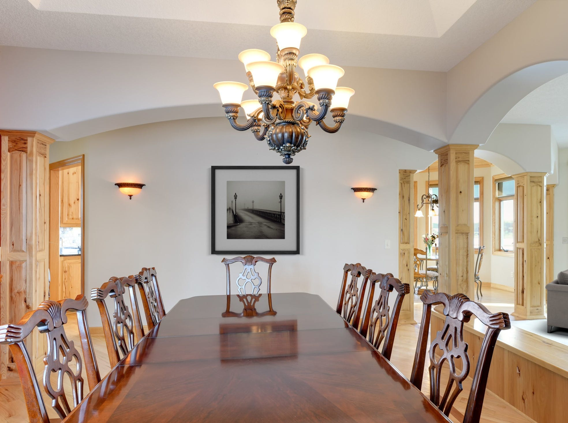 The living room is open to the formal dining area which has enough space to entertain large groups.