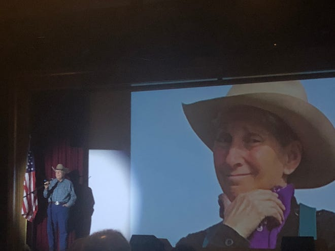 Cowboy poet Brice Wilson delivers his poem, The Outhouse, at the 13th annual Mesquite Western Roundup on Feb. 9, 2019.