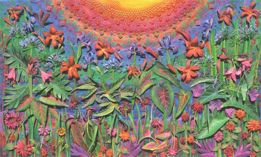 Beth Appleton, Back to the Garden, 2000, 47 x 28 inches, collage/watercolor paint on paper, Gadsden Arts Permanent Collection.
