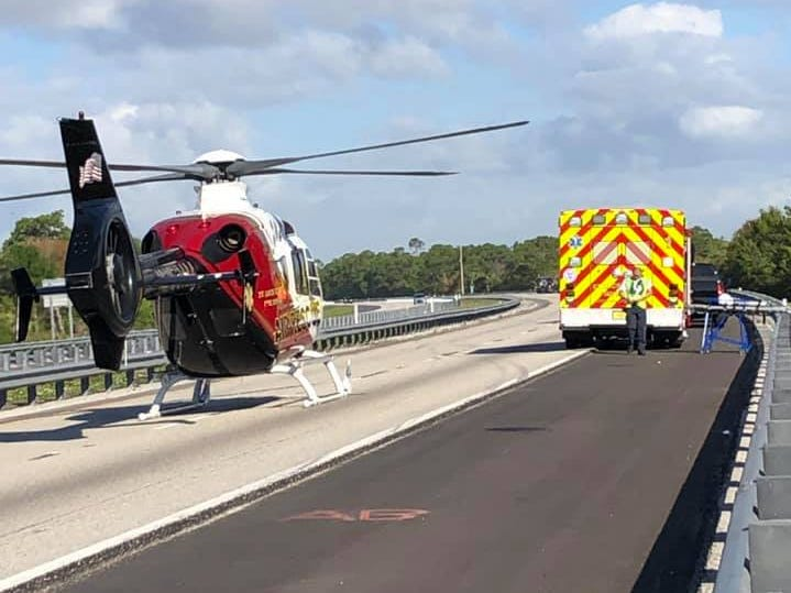 An armored truck crashed on the Turnpike Saturday near Fort Pierce. Two occupants were hospitalized with injuries.