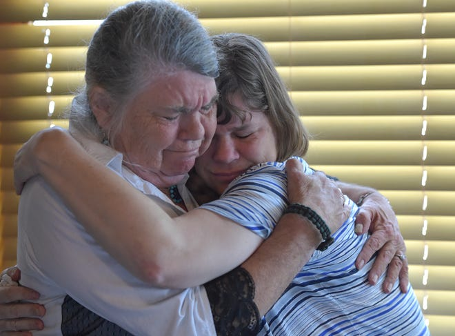 Janet Blanchard (left), of Sebastian, embraces her daughter Dawn Blanchard, during a news conference at Capt Hiram's Resort on Monday, Feb. 11, 2019, in Sebastian. Dawn Blanchard, who resides in a Bridges Group Home in Rockledge, was discovered to be pregnant in early 2015, allegedly impregnated by a caregiver at the facility.