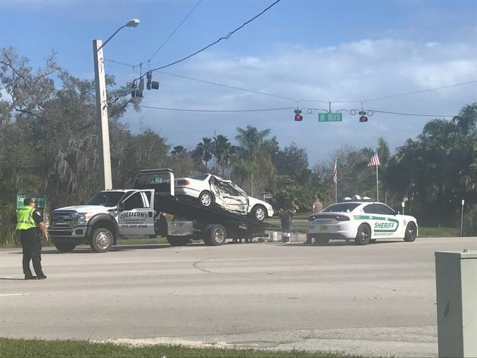 A motorcyclist was airlifted Monday, Feb. 11, 2019, after a crash on Indian River Boulevard in Vero Beach.