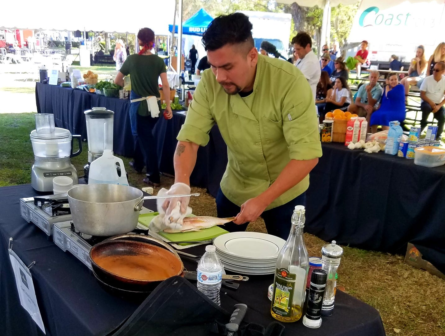 Chef Jose Peralta prepares for the Stuart Chopped competition.
