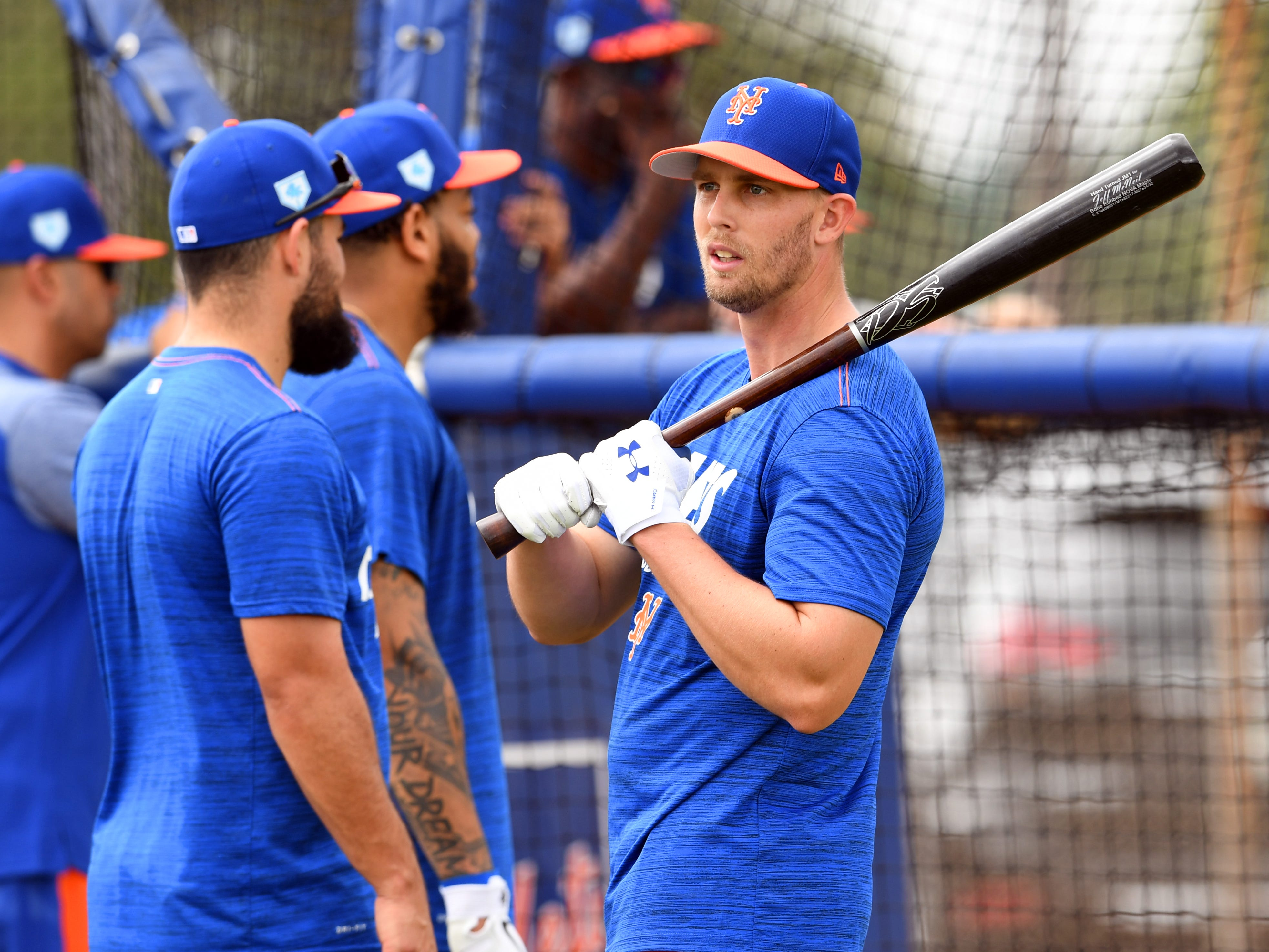 New York Mets infielder Jeff McNeil stands in line for batting practice on Monday, Feb. 11, 2019 during an optional practice with teammates at First Data Field in Port St. Lucie. The Mets will host the Atlanta Braves on Feb. 23 for their first Spring Training game of the year.