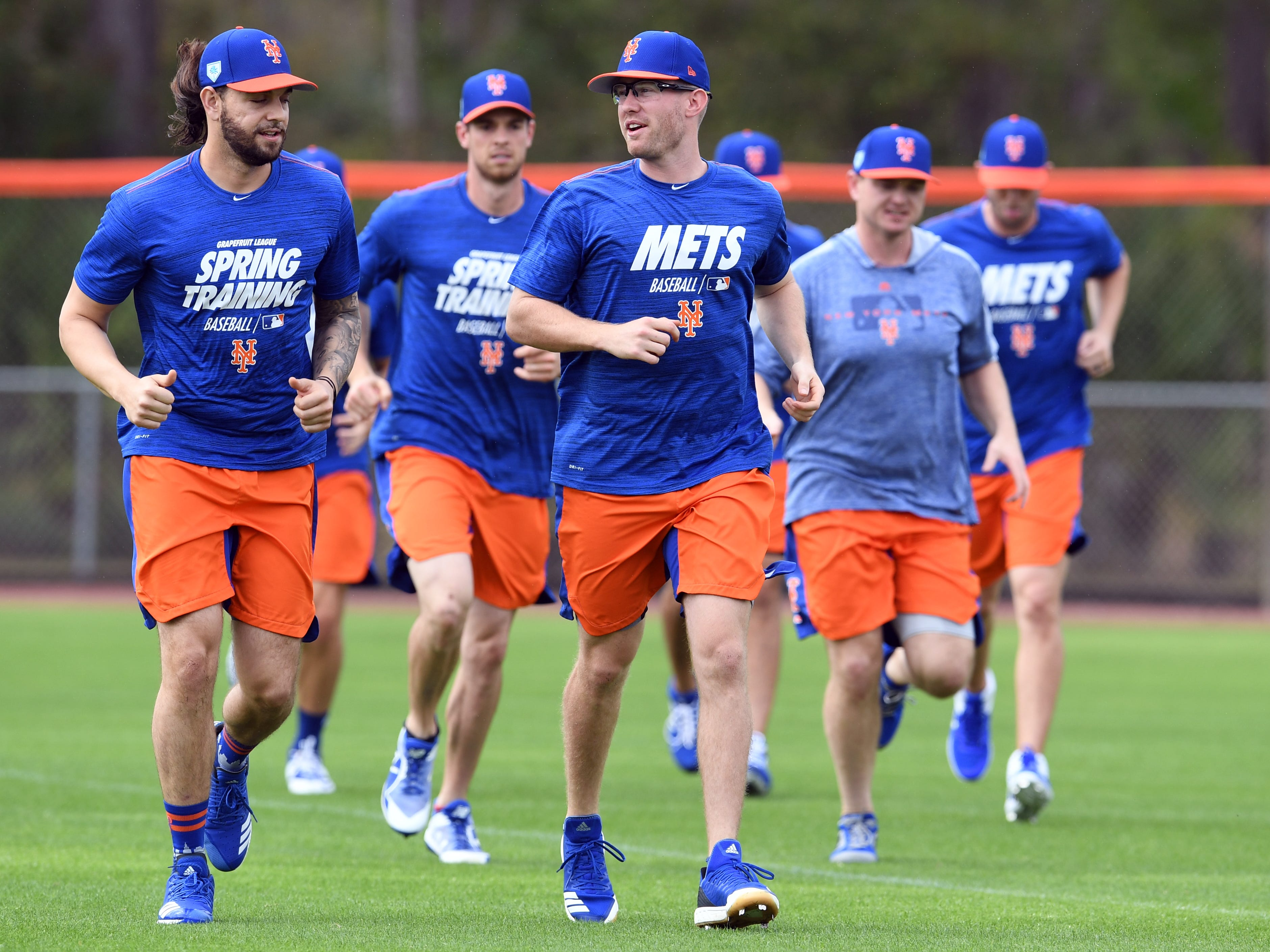 Members of the New York Mets gathered on Monday, Feb. 11, 2019 for a spring training practice session at First Data Field in Port St. Lucie. The Mets' first full squad practice will be Feb. 18 followed by the first game of spring training against the Atlanta Braves on Feb. 23.