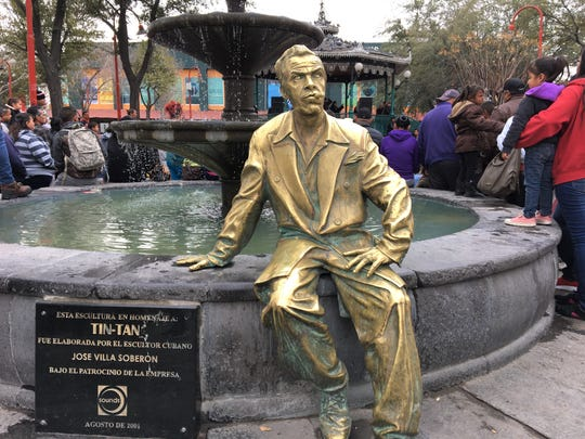 Mexican movie star Tin-Tan, who grew up in Juarez, is honored with a statue in the Plaza de Armas in front of Our Lady of Guadalupe Cathedral in Juarez, Mexico.