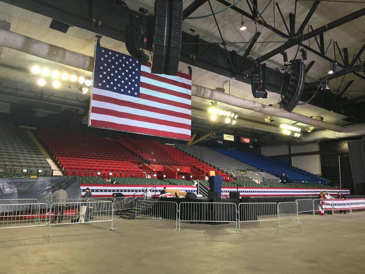 A giant U.S. flag is set up Monday, Feb. 11, 2019, at the El Paso County Coliseum in preparation for the rally by President Donald Trump.