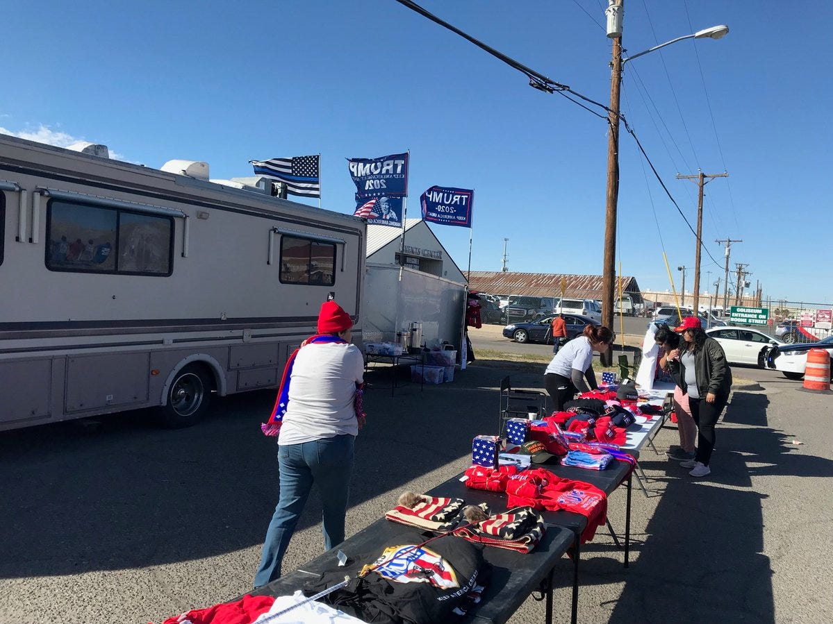 Hawkers set up Monday, Feb. 11, 2019, to sell Trump merchandise ahead of the president's rally at the El Paso County Coliseum.