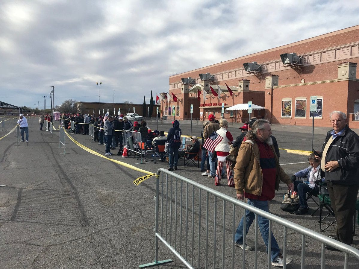 People outside the El Paso County Coliseum on Monday, Feb. 11, 2019, prepare for the rally by President Donald Trump set for 7 p.m.