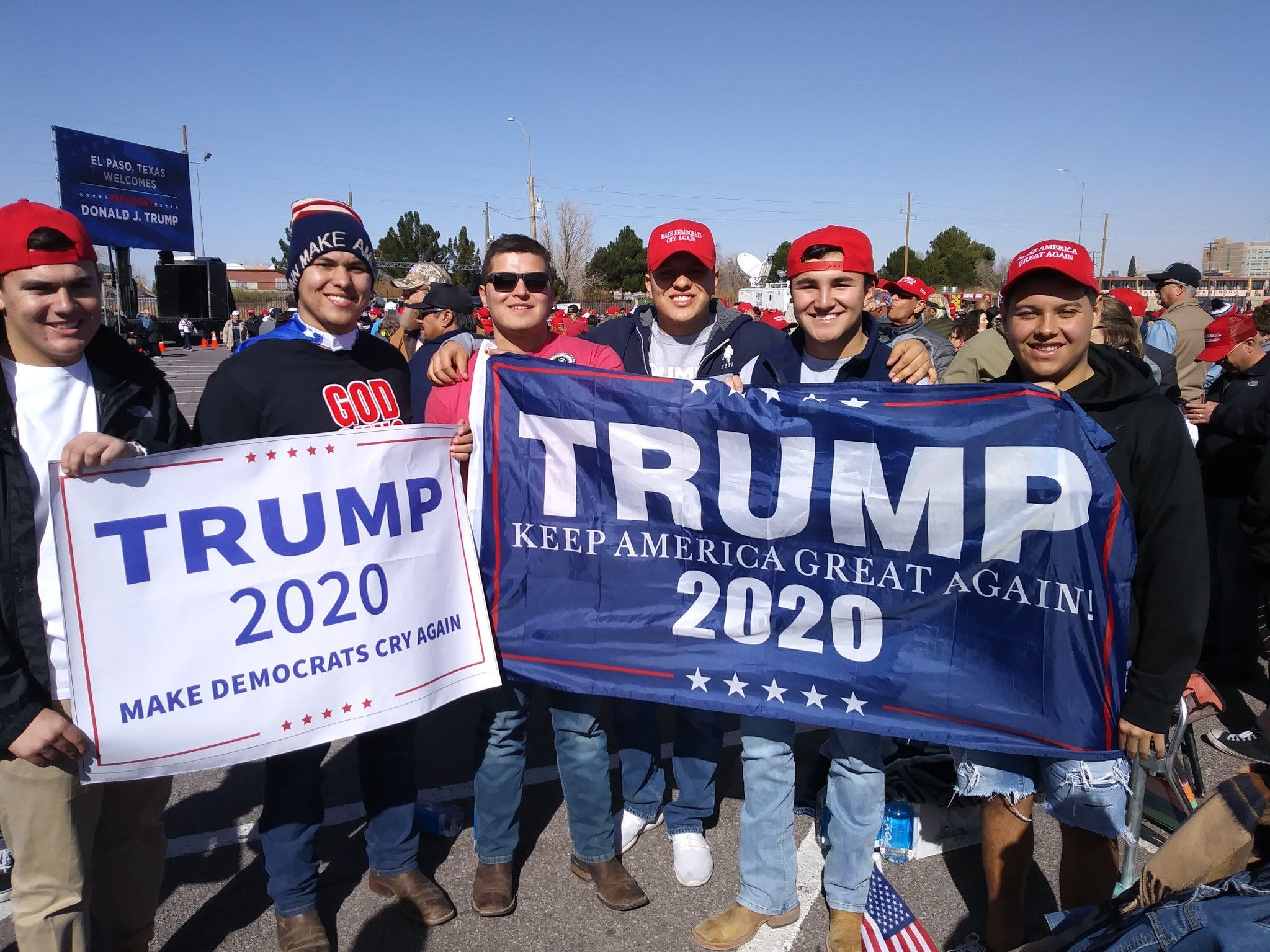 "Trump supporters display their signs backing the president Monday, Feb. 11, 2019, outside the El Paso County Coliseum. They called him ""Grandpa Trump."""