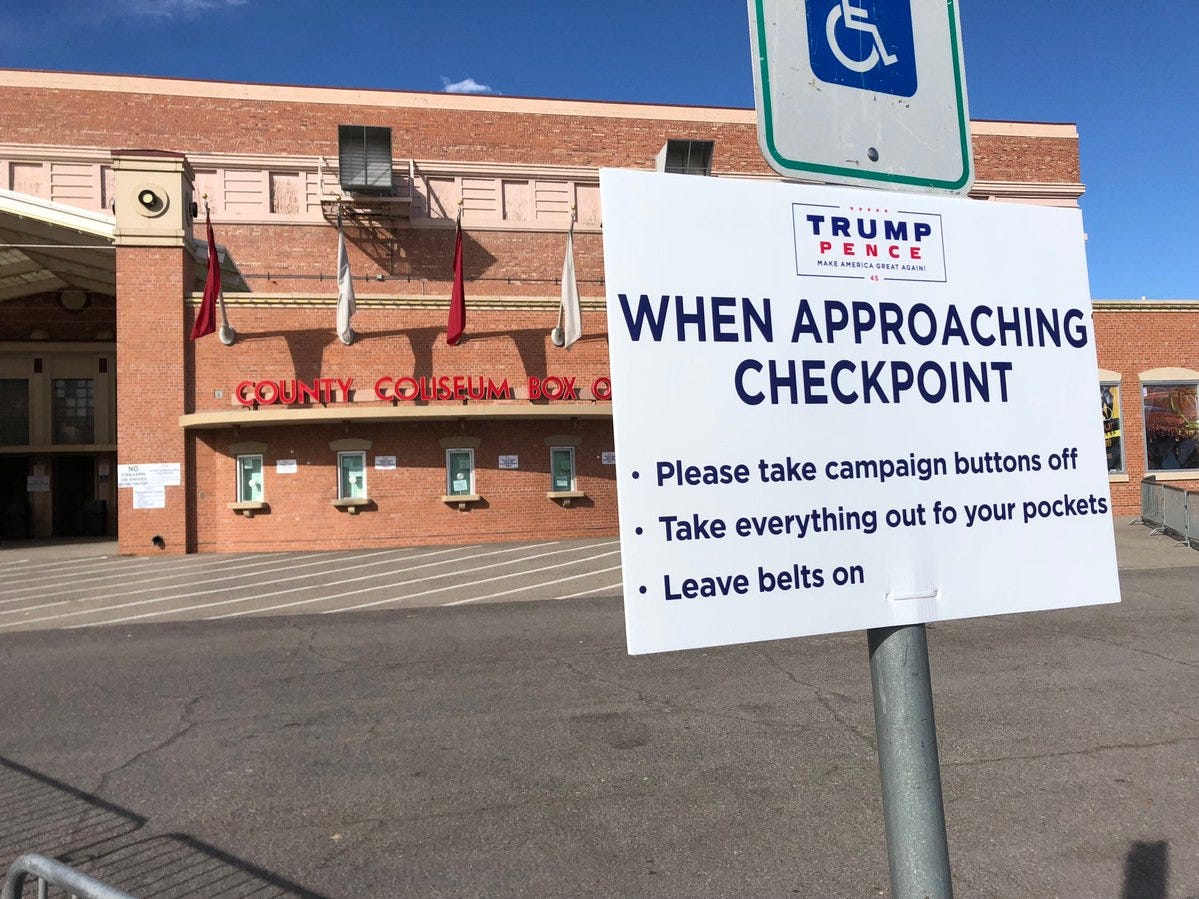 A sign seeks to speed up entry for people attending the rally by President Donald Trump on Monday, Feb. 11, 2019, at the El Paso County Coliseum.