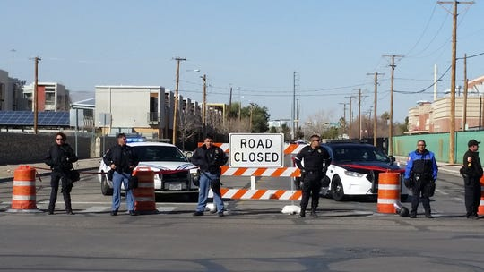 El Paso police block off Boone Street at Delta before President Donald Trump's rally in El Paso.