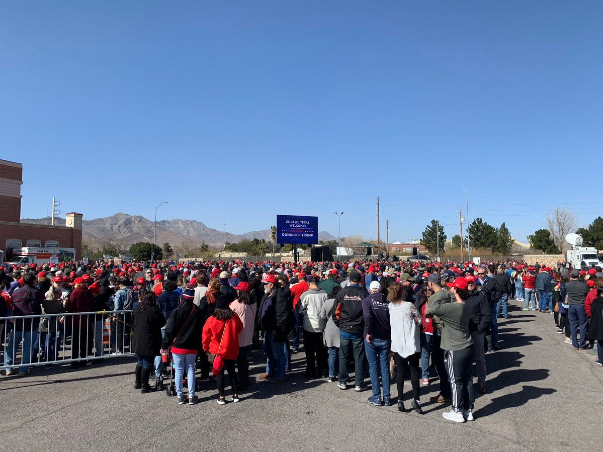 The crowd waiting to get into President Donald Trump's rally grows Monday, Feb. 11, 2019, outside the El Paso County Coliseum.