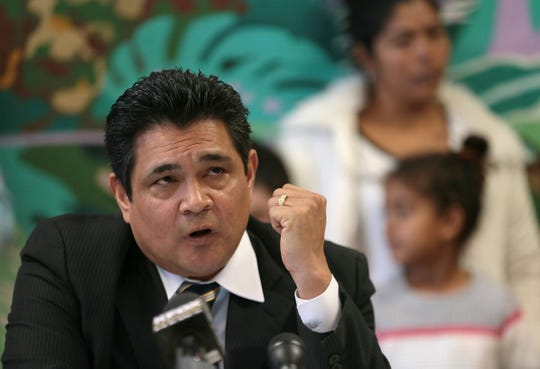 Oscar Vides speaks at an Annunciation House news conference Monday, Feb. 11, 2019, as an example of a successful refugee. Vides came to the United States from El Salvador as a child and sought asylum.