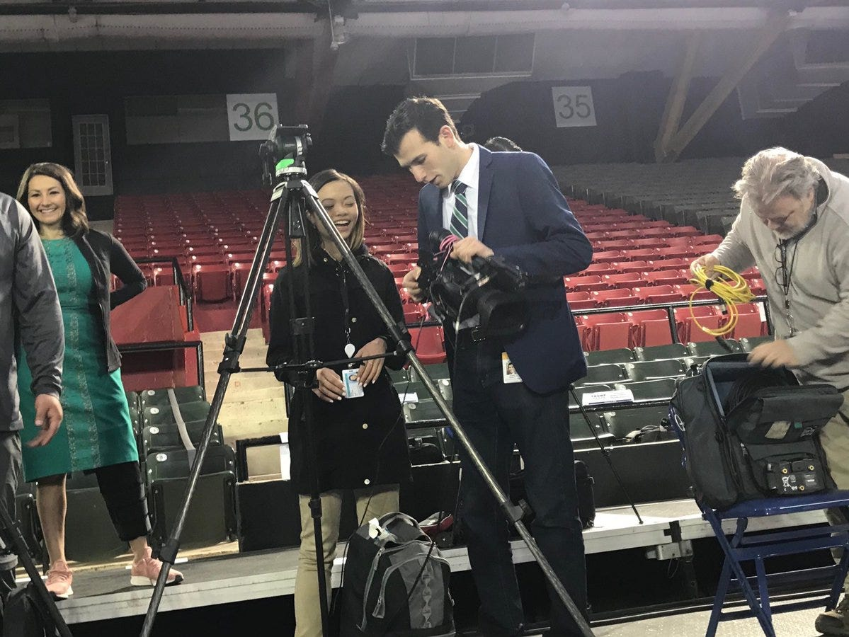 Media prepare for President Donald Trump's rally on Monday, Feb. 11, 2019, at the El Paso County Coliseum.