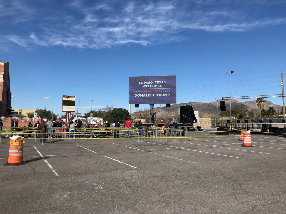 The usual beautiful blue sky greets people preparing for President Donald Trump's rally Monday, Feb. 11, 2019, at the El Paso County Coliseum.