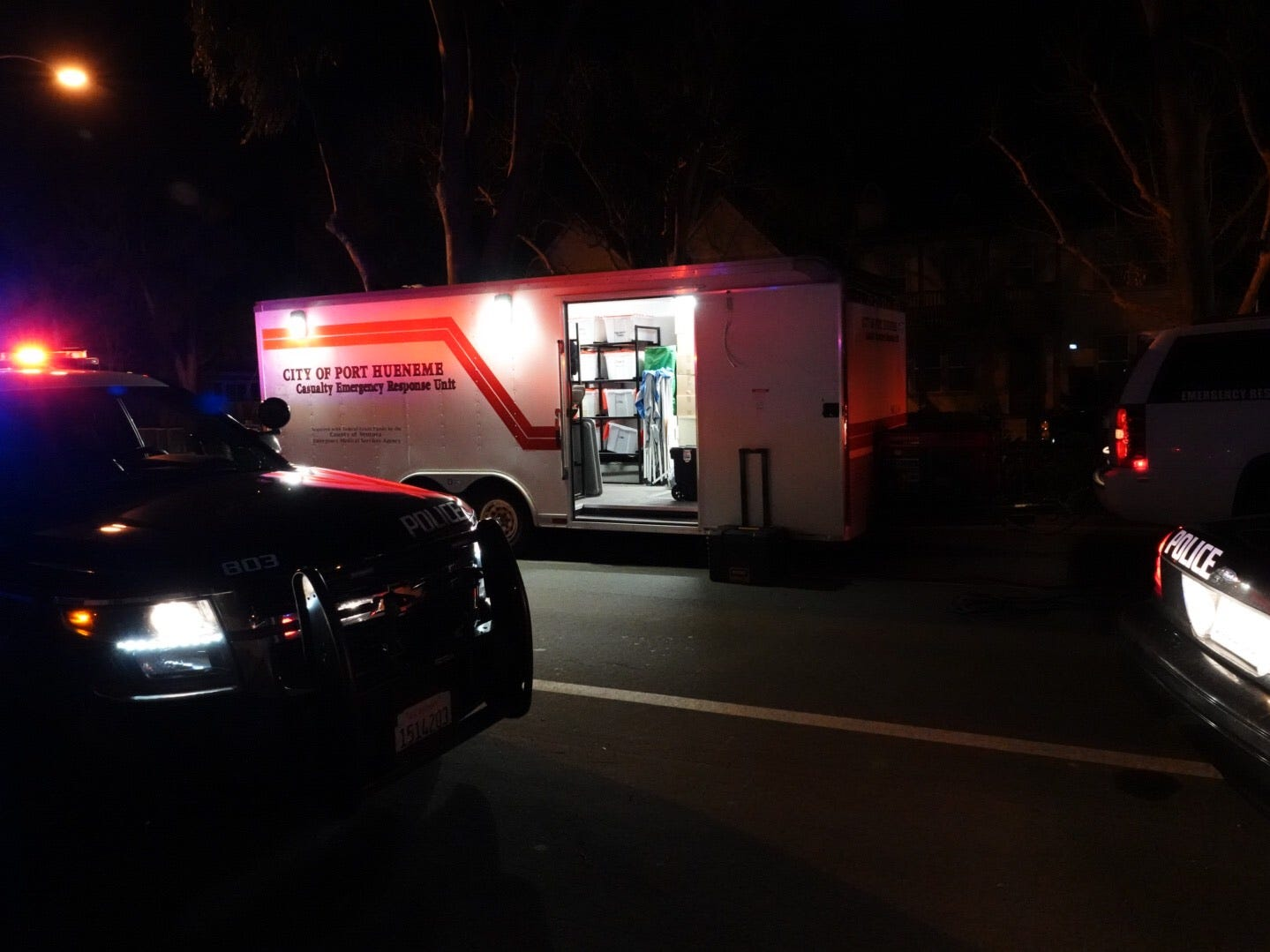 A command post is set up at the scene of of a crash on North Ventura Road in Port Hueneme Sunday night after an incident involving a police officer.