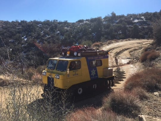 A vehicle equipped to move through snow was used to rescue six motorcyclists who got stuck on Alamo Mountain on Sunday.