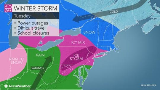A storm is expected to create hazardous driving conditions in the Lower Hudson Valley on Tuesday.