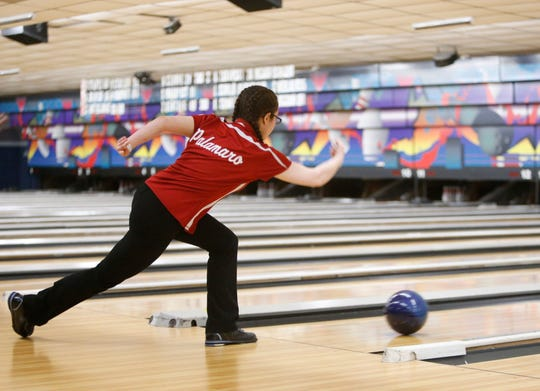 North Rockland's Isabella Palamaro during Monday's Section 1 bowling tournament in East Fishkill on February 11, 2019.