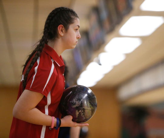 North Rockland's Victoria Varano during Monday's Section 1 bowling tournament in East Fishkill on February 11, 2019.