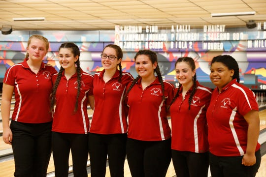 North Rockland's girls bowling team, from left, Nancy Kohut, Victoria Varano, Isabella Palamaro, Amilinda Rivera, Nicole Cona and Akira Deloatch after Monday's Section 1 bowling tournament in East Fishkill on February 11, 2019.