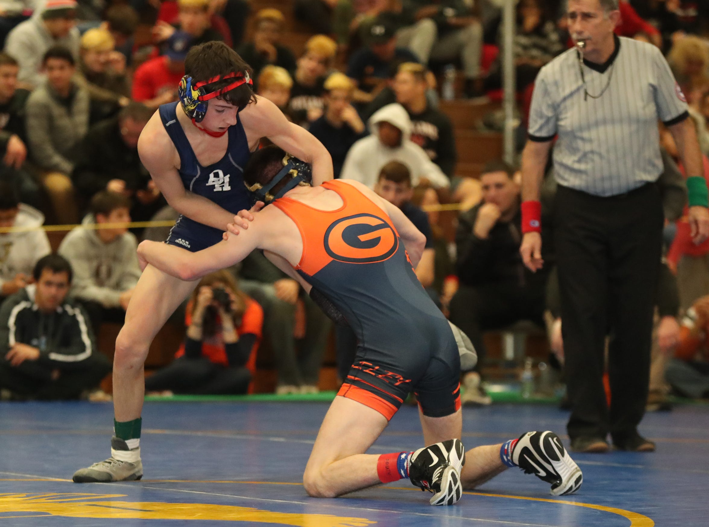 Horace Greeley's Matthew Schreiber defeats Byram Hills' John Fortungo in the 106-pound match of the division I wrestling finals at Clarkstown South High School on Sunday, February 10, 2019.