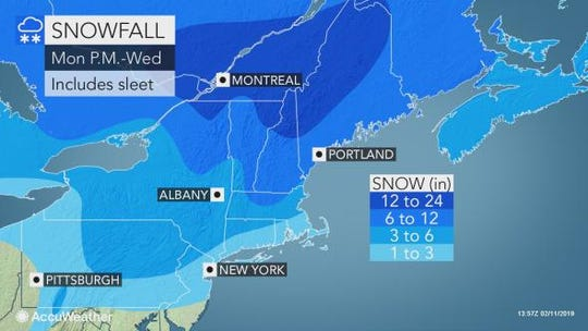 Snow is expected to hit the Lower Hudson Valley on Tuesday.