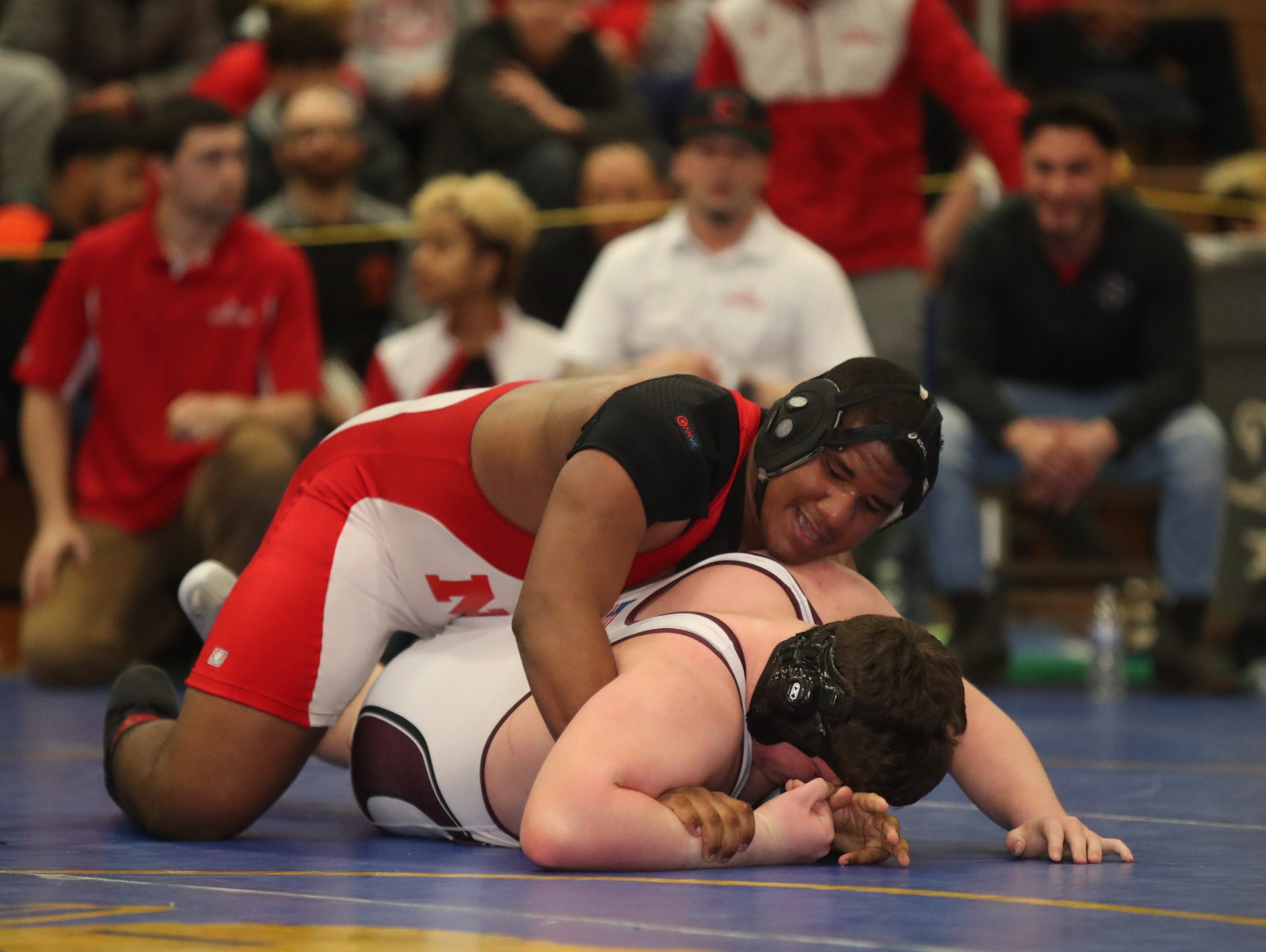 North Rockland's Emmanuel Mena defeats Ossining's Joe Nolan in the 285-pound match of the division I wrestling finals at Clarkstown South High School on Sunday, February 10, 2019.