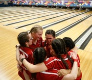 North Rockland's girls bowling team celebrate after Monday's Section 1 bowling tournament in East Fishkill on February 11, 2019.