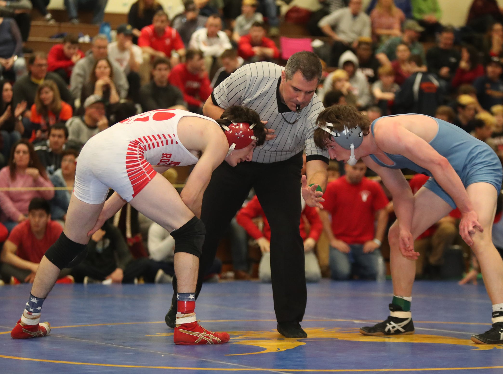 North Rockland's Jake Breyer defeats John Jay-East Fishkill's Jack Ninos in the 145-pound match of the division I wrestling finals at Clarkstown South High School on Sunday, February 10, 2019.