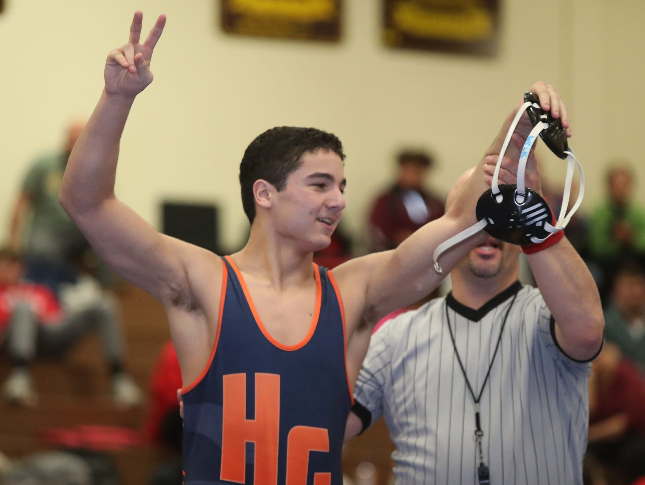 Horace Greeley's Aaron Wolk defeats Carmel's Ben Rivera in the 170-pound match of the division I wrestling finals at Clarkstown South High School on Sunday, February 10, 2019.