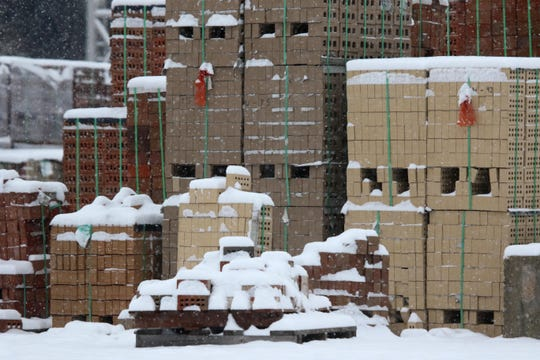 Bricks at Delaware Brick got a covering of snow during Delaware's most recent snowstorm.