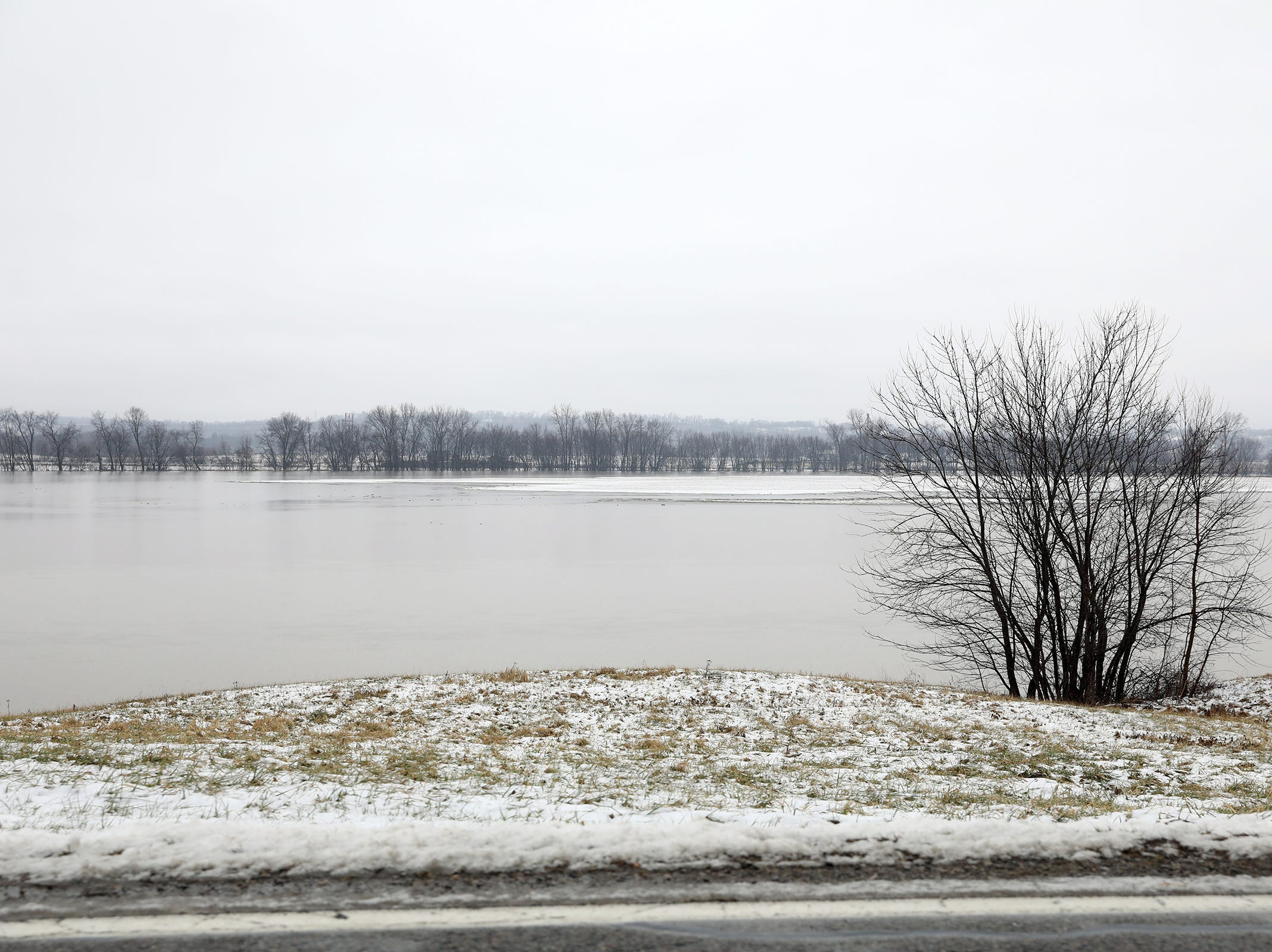 Flooded farm fields near Dresden as the Muskingum River leaves its banks on Monday.