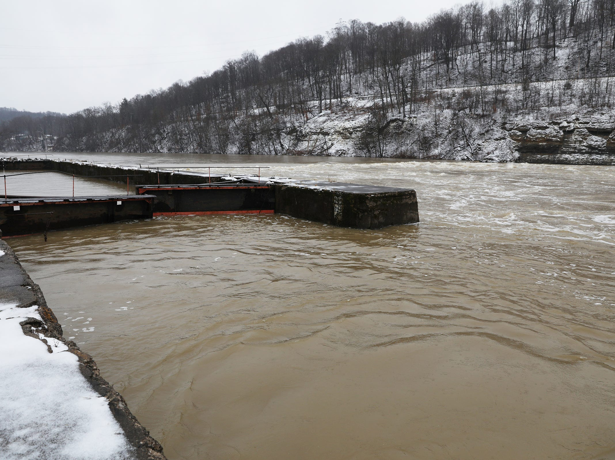 The dam on the Muskingum at Ellis Lock has nearly disappeared under high water Monday afternoon.