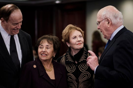 From left, Sen. Richard Shelby, R-Ala.; Rep. Nita Lowey, D-N.Y.; Rep. Kay Granger, R-Texas; and Sen. Patrick Leahy, D-Vt., confer before a lawmakers' meeting on Homeland Security appropriations last month.