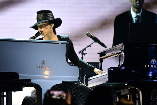 "Alicia Keys performs a ""Songs I'd Wish I'd Written"" medley at the Grammys."