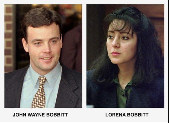 John Bobbitt, left, in Nov. 1993, and Lorena Bobbitt, Jan. 1994.