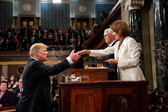 President Donald Trump and Speaker of the House Nancy Pelosi at the State of the Union address on Feb. 15, 2019.