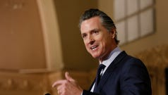 FILE - In this Jan. 17, 2019 file photo, Gov. Gavin Newsom speaks at the California Legislative Black Caucus Martin Luther King Jr., Breakfast, in Sacramento, Calif. Newsom is withdrawing several hundred National Guard troops from the nation's southern border and changing their mission.