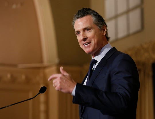 In this Jan. 17, 2019 file photo, Gov. Gavin Newsom speaks at the California Legislative Black Caucus Martin Luther King Jr., Breakfast, in Sacramento, Calif.