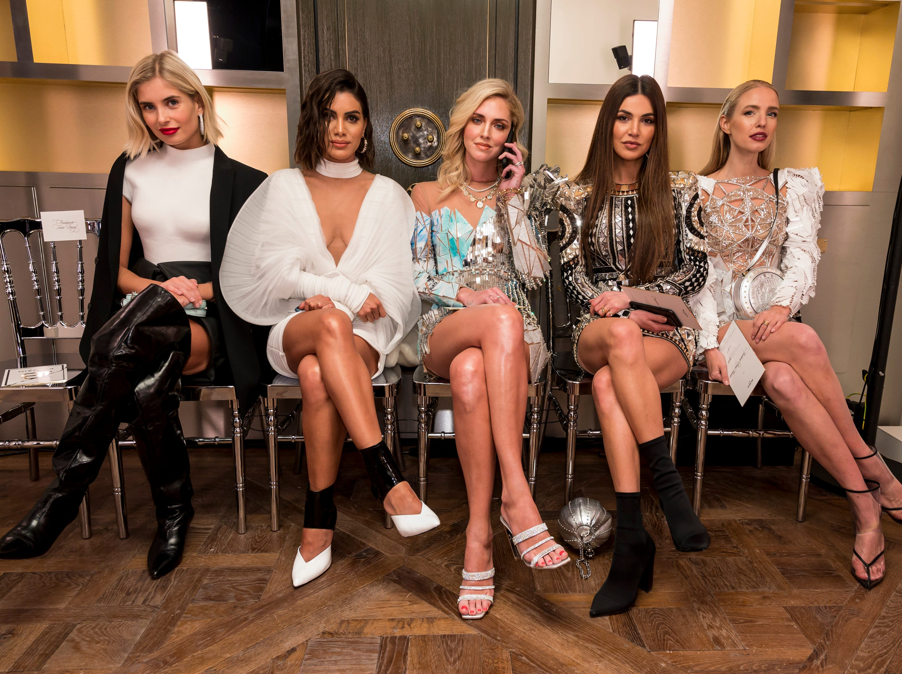Xenia Adonts, Camila Coelho, Chiara Ferragni, Negin Mirsalehi and Leonie Hanne attend the Balmain Paris Haute Couture Spring Summer 2019 show as part of Paris Fashion Week on January 23, 2019 in Paris, France.