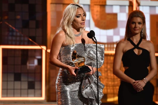"Lady Gaga accepts the Grammy Award for best pop duo/group performance for ""Shallow."""