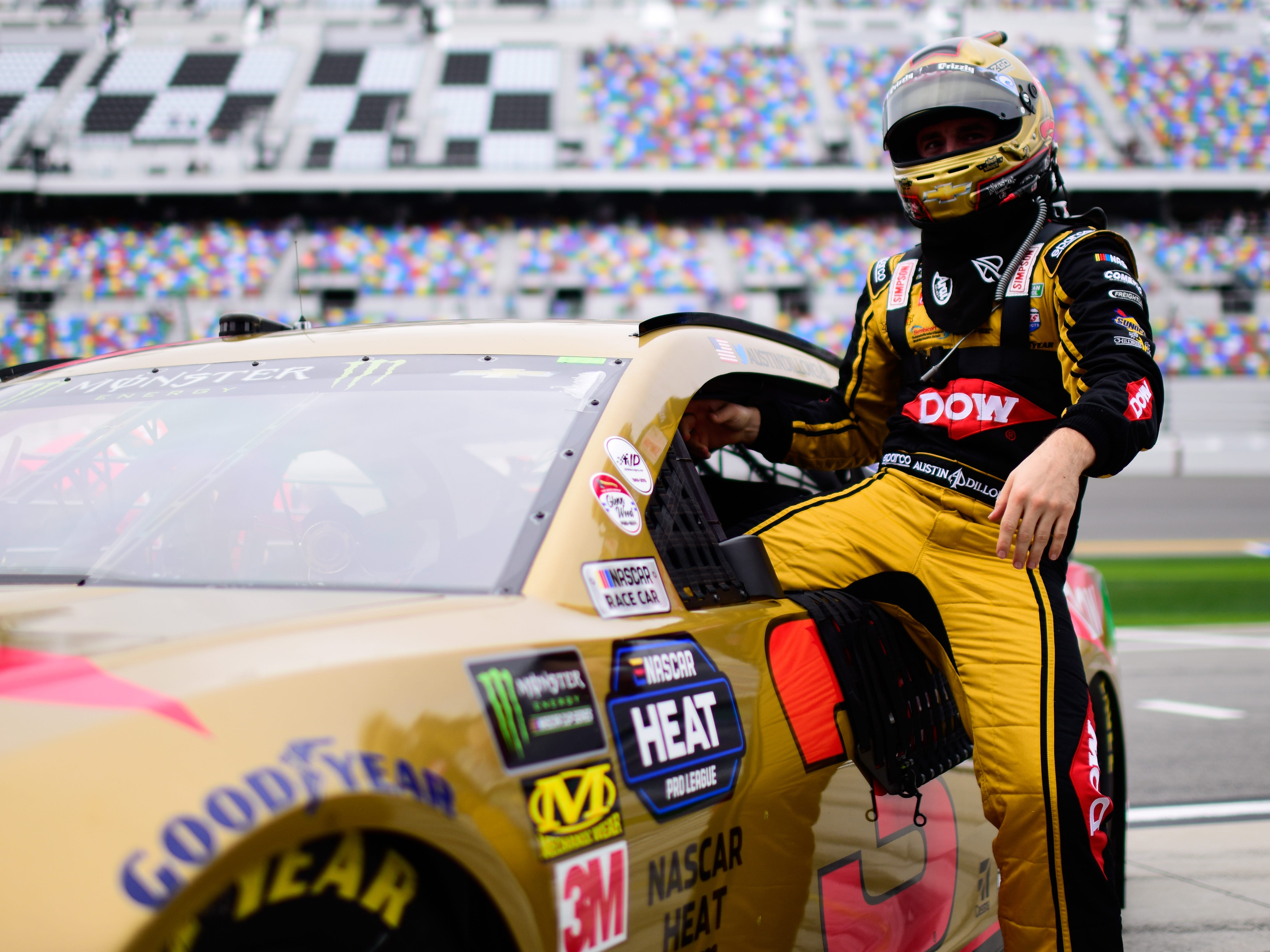 Feb. 10: Austin Dillon, the 2018 Daytona 500 champion, prepares to qualifying for the 2019 race at Daytona International Speedway.