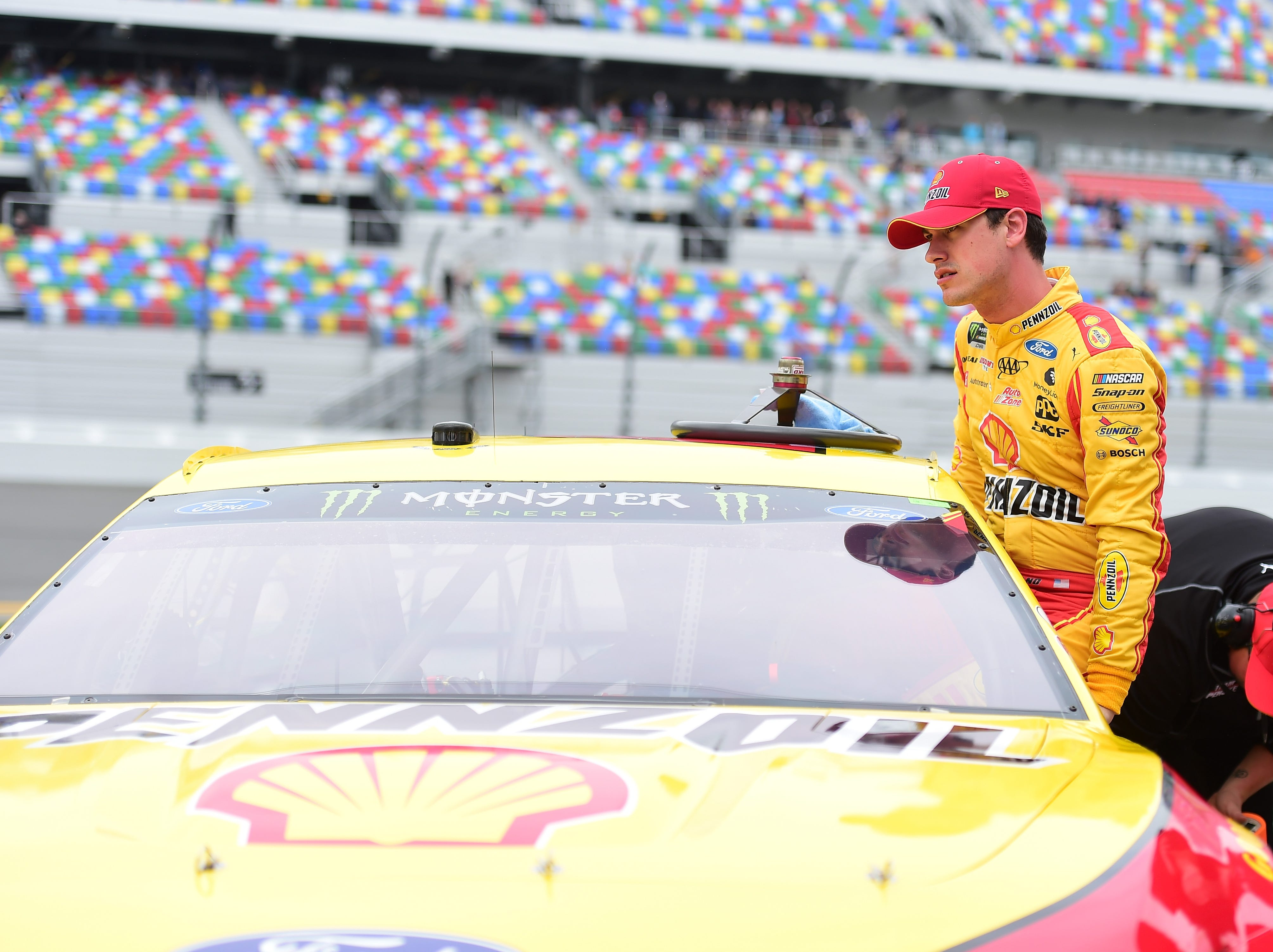 Feb. 10: Joey Logano, the 2018 Monster Energy NASCAR Cup Series champion, prepares to qualify for the 2019 Daytona 500.